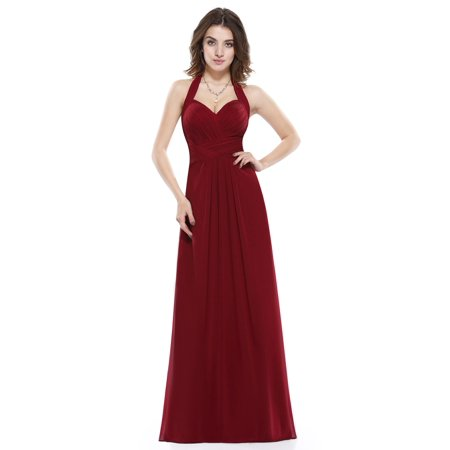 Ever Pretty Women S Elegant Full Length Halter Neck Empire Waist Spring Wedding Guest Dresses For Women 08487 Burgundy Us 6