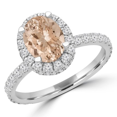 1 9/10 CTW Oval Pink Morganite Halo Engagement Ring in 14K White Gold (MD180582) - image 2 de 2