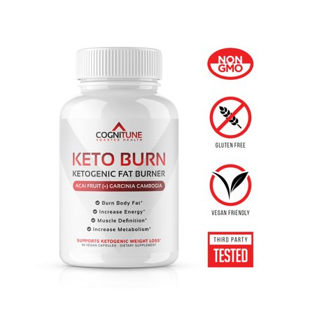 COGNITUNE KETO BURN - Energy & Weight Loss Supplement with Raspberry Ketones, Garcinia Cambogia, Caffeine & More, 1250 mg, 60 Capsules Formula 60 Diet Pills