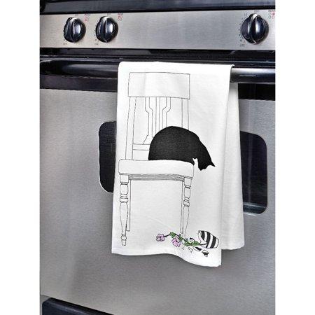 Cat Dish Towels - Black Cat Kitchen Towel - Cotton Bar Tea Towel Kitchen Linen