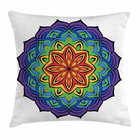 Rainbow Mandala Throw Pillow Cushion Cover, Colorful Mandala Design with Blossoming Cinnamon Flower Oriental Flora, Decorative Square Accent Pillow Case, 16 X 16 Inches, Multicolor, by Ambesonne