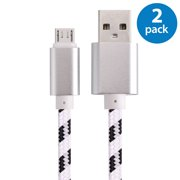 2x Afflux 10FT Micro USB Adaptive Fast Charging Cable Cord For Samsung Galaxy S3 S4 S6 S7 Edge Note 2 4 5 Grand Prime LG G3 G4 Stylo HTC M7 M8 M9 Desire 626 OnePlus 1 2 Nexus 5 6 Nokia Lumia White