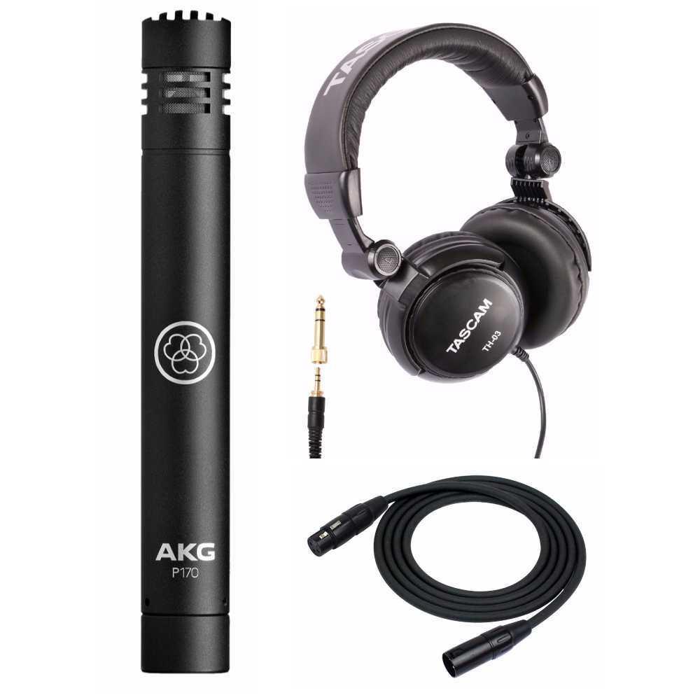 AKG P170 Professional Instrumental Microphone + Tascam TH-03 Headphones + XLR Cable