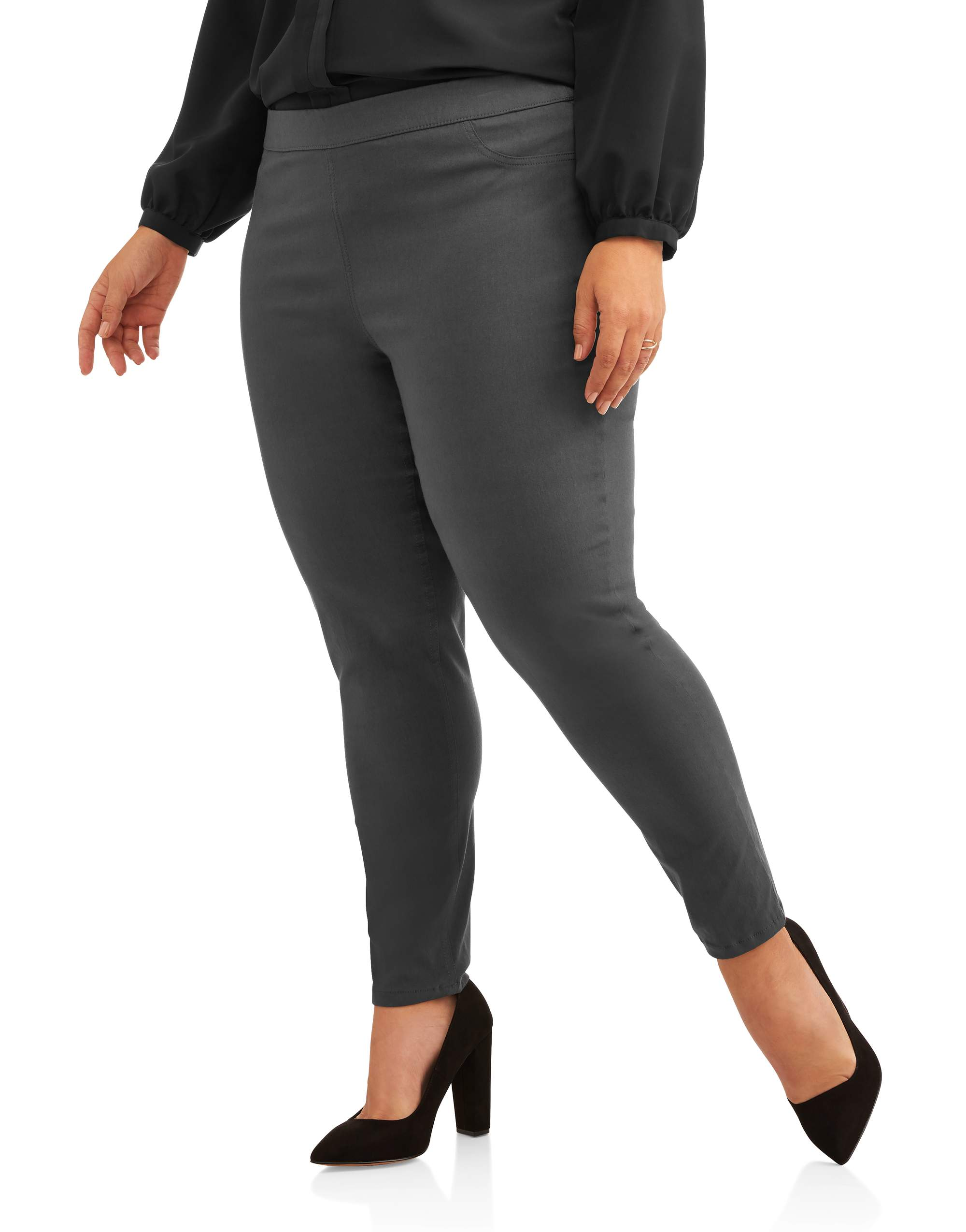 Women's Plus Stretch Woven Career Pant With Scoop Pockets