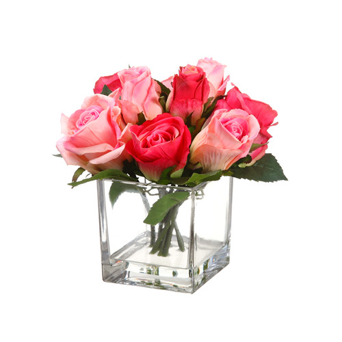 Silk Flower Depot Faux Rose in Glass Vase