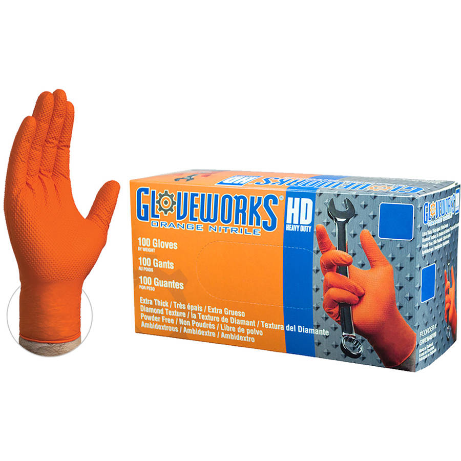 Glowevorks Heavy Duty Orange Nitrile Diamond Textured Industrial Disposable Gloves, Medium by AMMEX