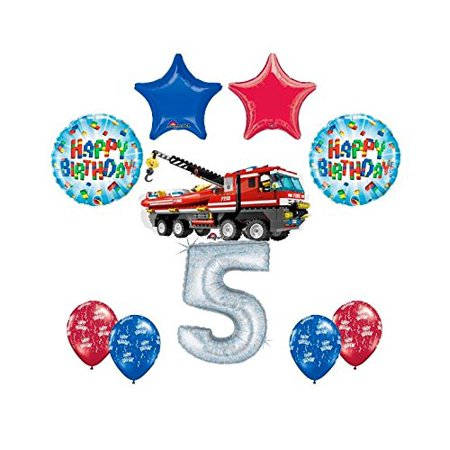 10 pc LEGO CITY Fire Engine Firetruck 5th Birthday Party Balloon Decorating S...