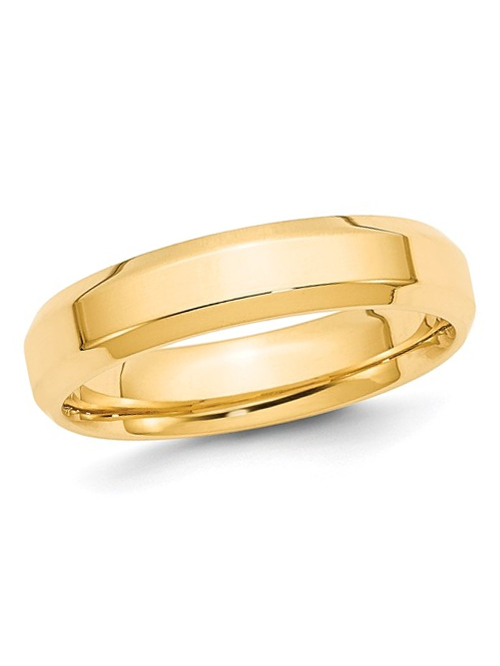 14K Solid Yellow White Gold Comfort Fit 5mm Beveled  Wedding Band Ring