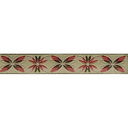5/8 Inch Antique Flowers Jacquard Ribbon Closeout - Various Lengths Available
