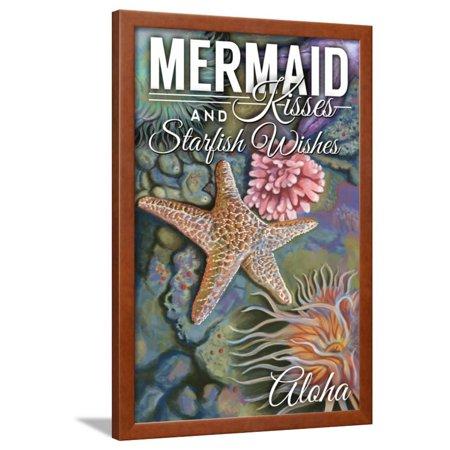 Aloha - Mermaid Kisses and Starfish Wishes - Tidepool Framed Print Wall Art By Lantern Press
