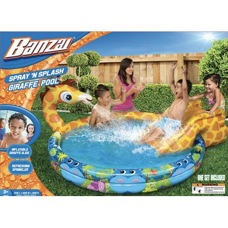 Banzai Spray N Splash Giraffe Pool Inflatable Swimming
