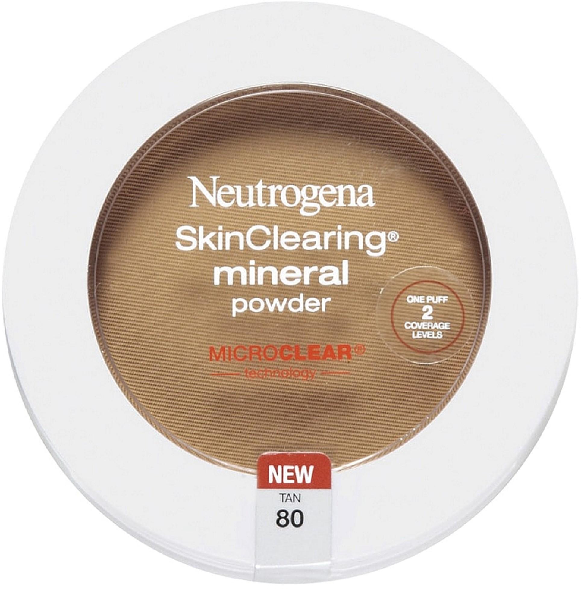Neutrogena Skin Clearing Mineral Powder, Tan [80] 0.34 oz (Pack of 6)