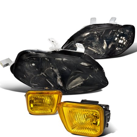 Spec-D Tuning For 1999-2000 Honda Civic Dx Lx Ex Coupe Sedan + Black Housing Headlights + Yellow Fog Lamps (Left+Right) 1999 2000
