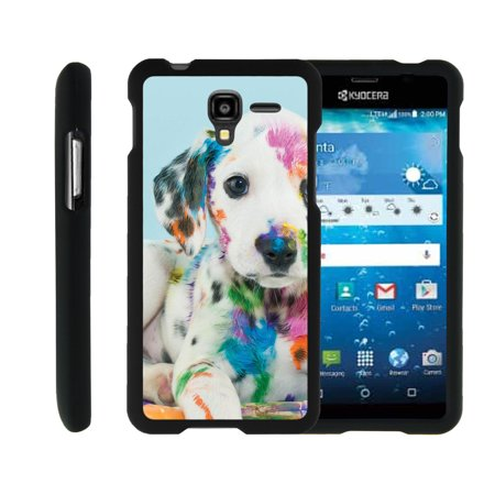 Plastic Cello (Kyocera Hydro View | Hydro Reach | Hydro Shore, [SNAP SHELL][Matte Black] 2 Piece Snap On Rubberized Hard Plastic Cell Phone Cover with Cool Designs - Colorful Puppy )