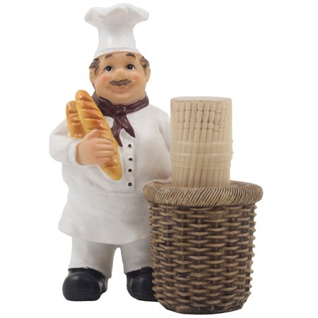 Decorative French Chef Henri Toothpick Holder Display Stand Figurine with Faux Gourmet Bread and Wicker Basket for Kitchen Decor by Home 'n Gifts