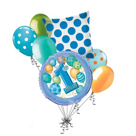 7 pc 1st Blue Happy Birthday Balloon Bouquet Party Decoration Baby One First - Baby First Birthday Ideas