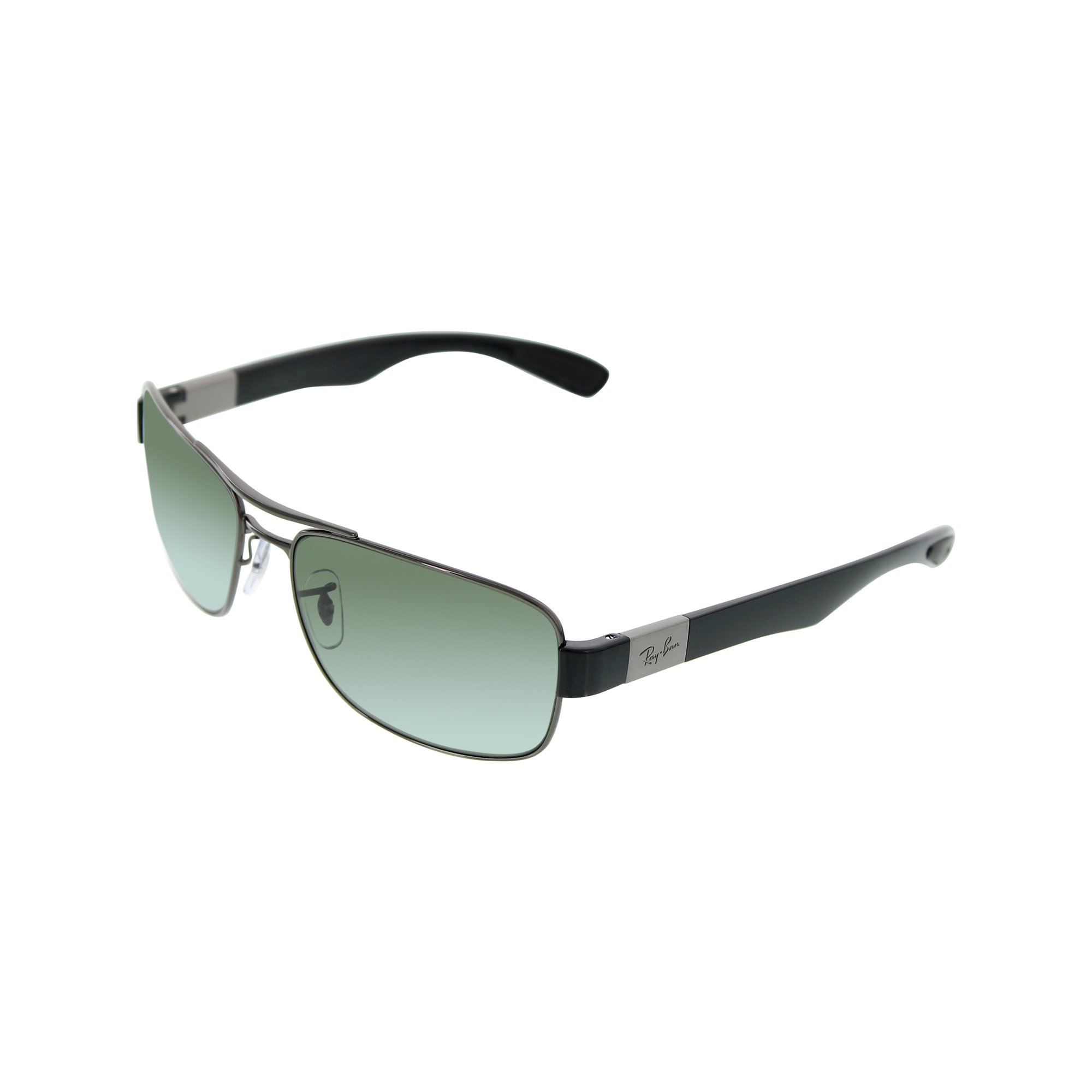 608f636287 Ray-Ban Men s Polarized RB3522 RB3522-004 9A-61 Silver Rectangle Sunglasses