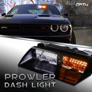 Prowler Amber/White Emergency Dash Warning Light - Daytime Visible LED 18 Strobe Patterns for Law Enforcement, First Response, Fire, Security, and Traffic Control POV Vehicles - 2 Yr. Warranty
