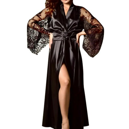 Women Sexy Lingerie Silk Lace Robe Babydoll Long Sleeve Nightdress Sleepwear](Long Stripper Gowns)