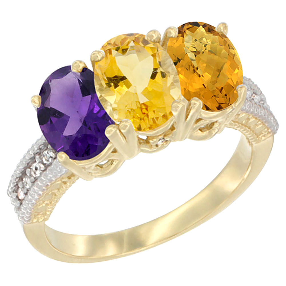14K Yellow Gold Natural Amethyst, Citrine & Whisky Quartz Ring 3-Stone 7x5 mm Oval Diamond Accent, sizes 5 10 by WorldJewels