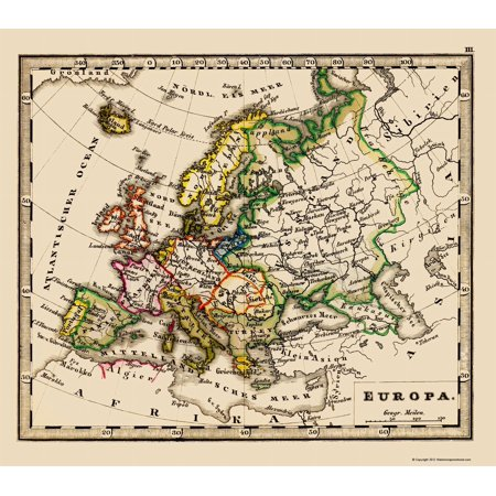 Old Europe Map   Stieler 1852   23 X 26 04
