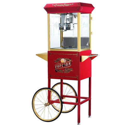 Great Northern Red Antique Style 8-Ounce Popcorn Popper Machine with Cart