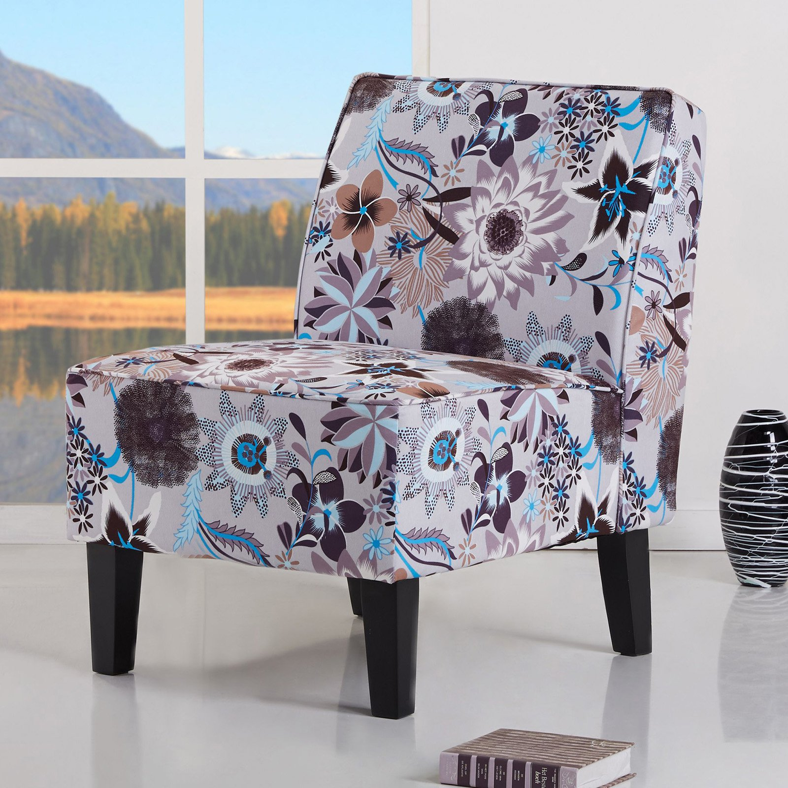 Gold Sparrow Plano Flower Print Accent Chair