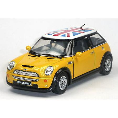"5"" Kinsmart Mini Cooper S British Flag Diecast Model Toy 1:28 Yellow"
