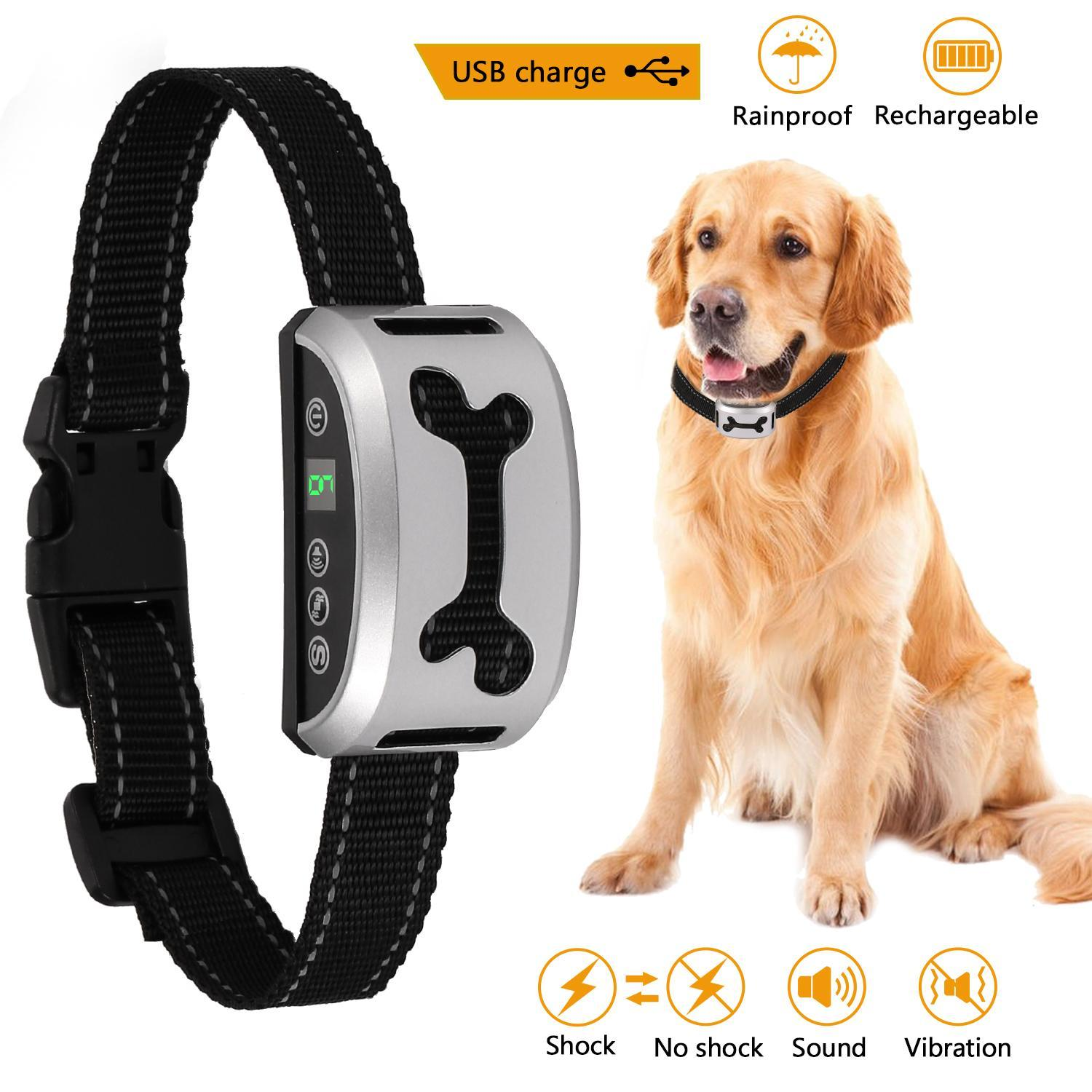 2019 The Newest! Pet Collar Vibration or Shock Barking Control Training Collar with 7 Adjustable Sensitivity Control for Dogs HFON