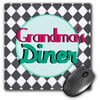 3dRose Grandmas Diner sign on black and white diamonds Retro hot pink aqua teal 1950s 50s fifties kitchen, Mouse Pad, 8 by 8 inches