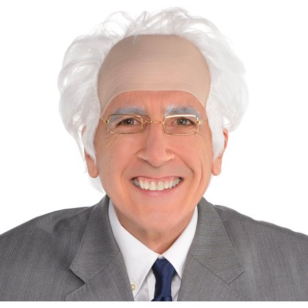 Balding Man Wig (Suit Yourself Balding Old Man Wig for Adults, Features White Hair Sewn Into a Light Bald Cap for a Receding)