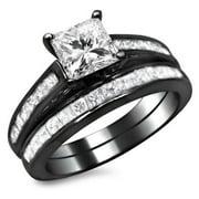 Noori Collection Noori 14k Black Gold 1 3/4ct TDW Princess Cut Diamond Bridal Set