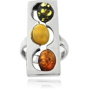 3-Multi-Amber-Stone Sterling Silver Square Frame Oval Stone Ring