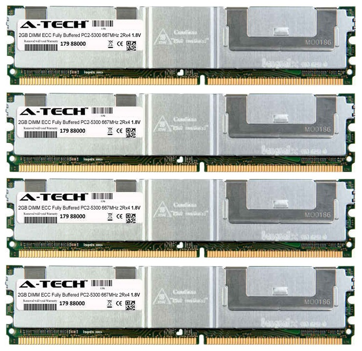 8GB Kit 4x 2GB Modules PC2-5300 667MHz 1.8V 2Rx4 ECC Fully Buffered DDR2 DIMM Server 240-pin Memory Ram