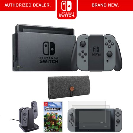 Nintendo Switch 32 GB Console w/ Gray Joy Con (HACSKAAAA) + Minecraft Bundle Includes, Nintendo Switch Minecraft, Nintendo Switch Joy-Con Charging Dock, 2-Pack Screen Protector and Protective Sleeve