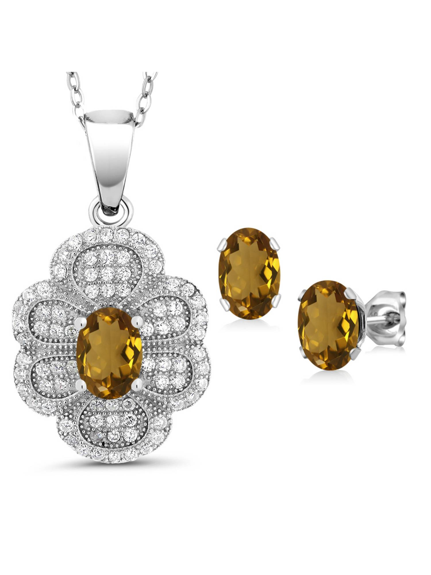 3.02 Ct Oval Whiskey Quartz 925 Sterling Silver Pendant Earrings Set