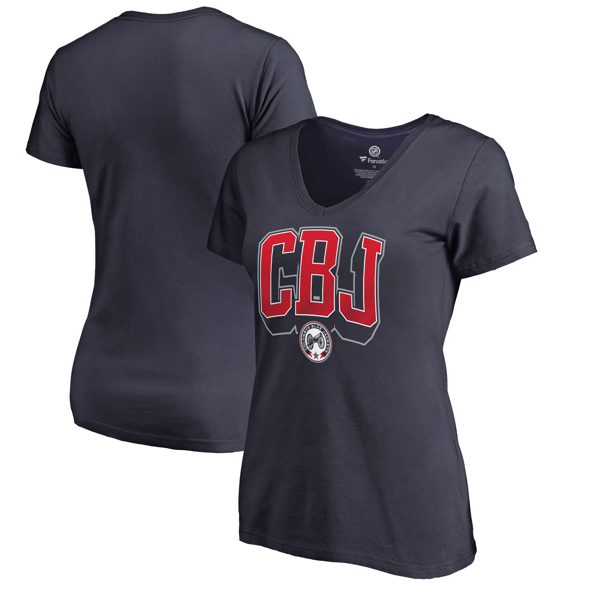 Columbus Blue Jackets Fanatics Branded Women's Plus Size Hometown Collection V-Neck T-Shirt - Navy