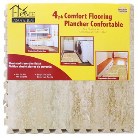 Tavertine Anti-Fatigue Flooring (4pk) Anti Fatigue Rectangular Floor
