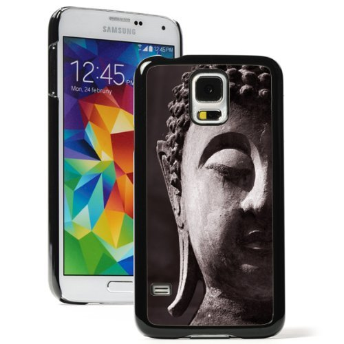 Samsung Galaxy (S5 Active) Hard Back Case Cover Ancient Buddha Face (Black)