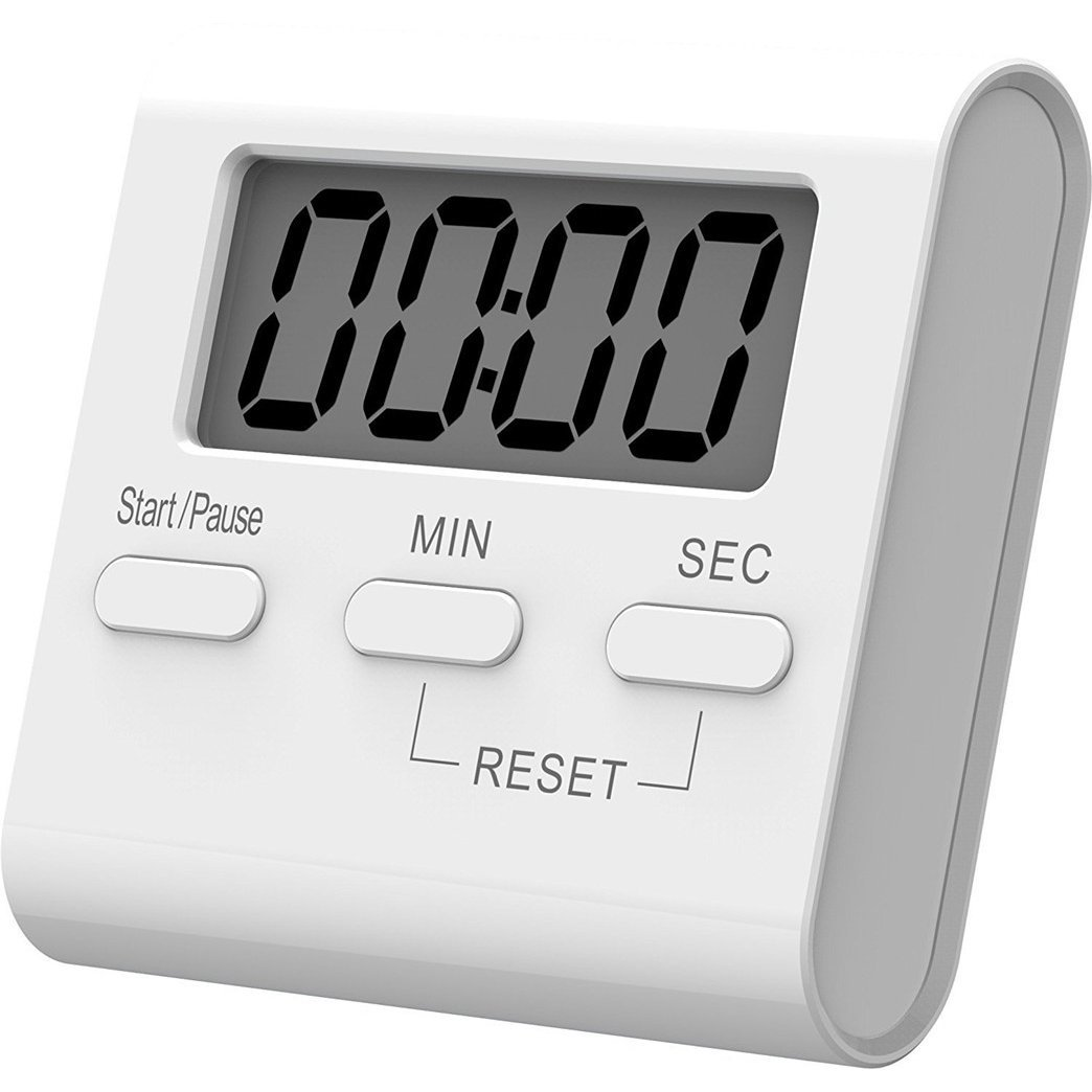 Digital Kitchen Timer, Lound Alarm, Magnetic Backing Stand with Large LCD Display, Cooking Timer White, Pack of 2