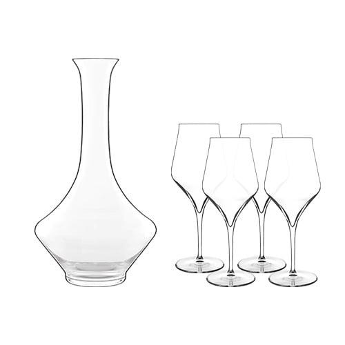 Luigi Bormioli Supremo Decanter 0.75 L with 4 Bordeaux Glasses Decanter with Bordeaux Glasses by Luigi Bormioli