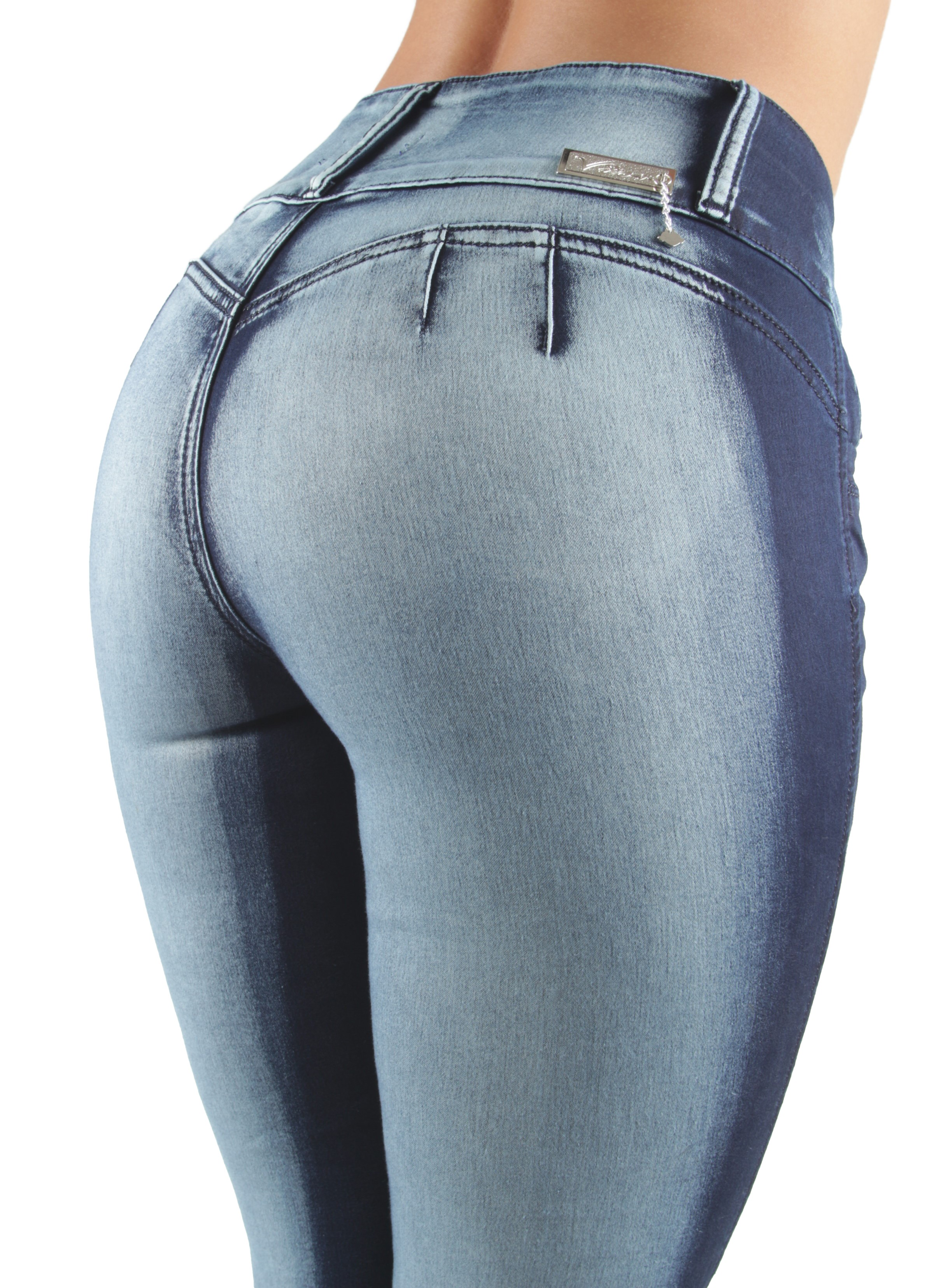 Women/'s Juniors Colombian Design Skinny Jeans Mid Waist Butt Lift Push Up