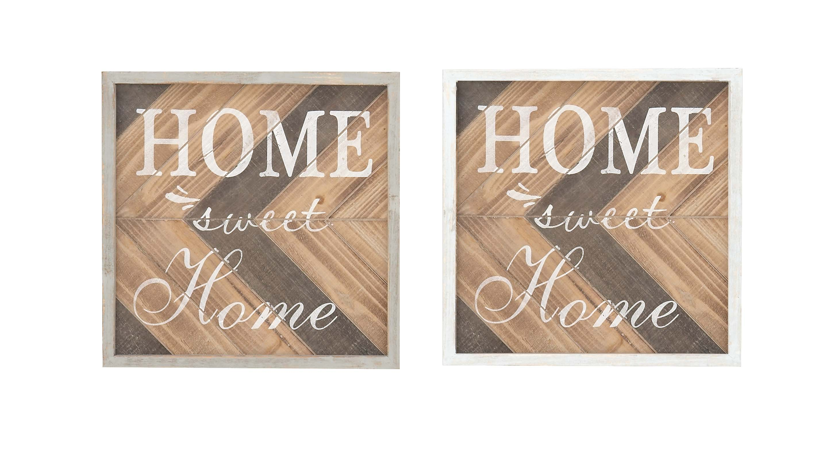 Decmode Set Of 2 Farmhouse 12 Inch Square Framed Home Sweet Home