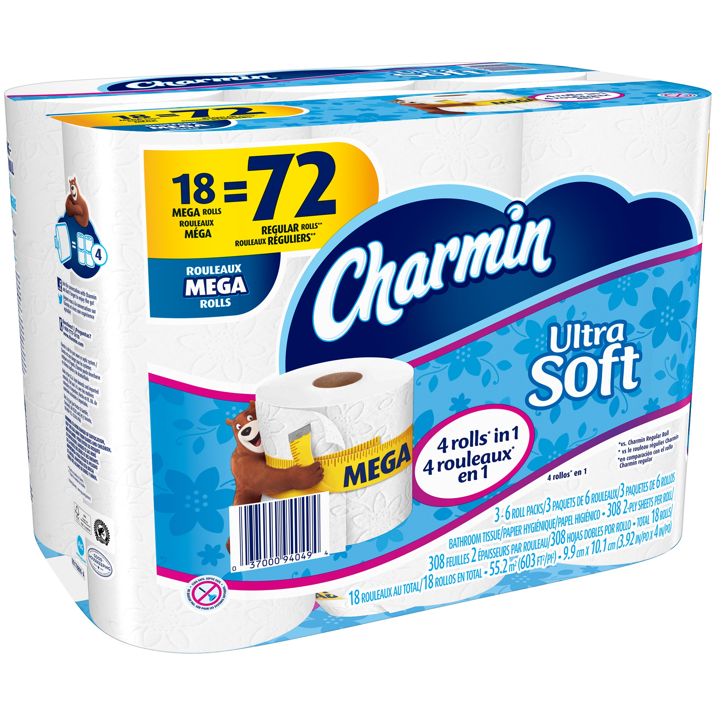 Charmin Ultra Soft 2-Ply Mega Toilet Paper Rolls 18 ct Pack by Procter & Gamble