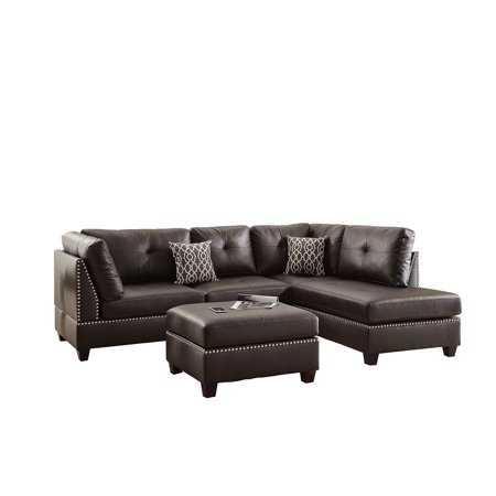 Bobkona Viola Bonded Leather Left or Right hand Chaise Sectional Set with Ottoman in Espresso