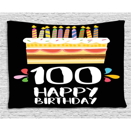 100th Birthday Decorations Tapestry Old Legacy 100 Party Cake Candles On Black Backdrop