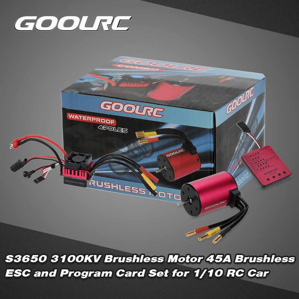 GoolRC S3650 3100KV Sensorless Brushless Motor 45A Brushless ESC and Program Card Combo Set for 1/10 RC Car Truck