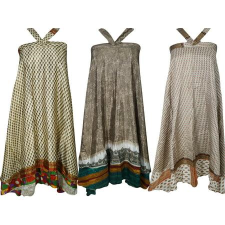 Mogul Womens Beach Wrap Aloha Skirts Wholesale 3 Pcs Lot Two Layers Recycled Sari Magic Wrap Around Long Skirt