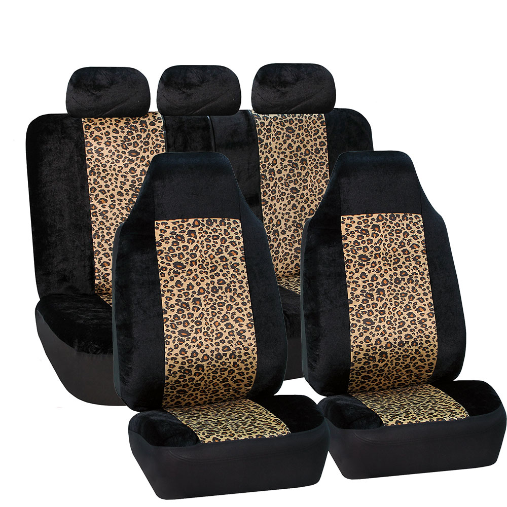 FH Group Classic Leopard Animal Print Car Seat Covers, Airbag Compatible and Split Bench, Full Set