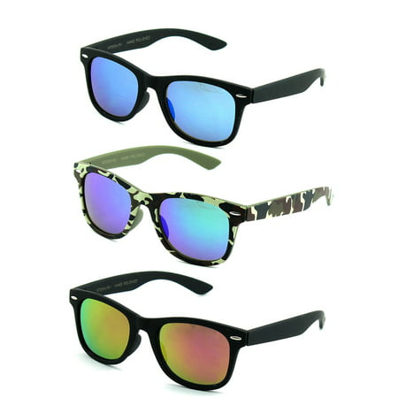 Newbee Fashion - Kids 80's Classic Vintage Retro Style Mirrored Lens Camo Design Fashion Sunglasses (Cult Classic Sunglasses)